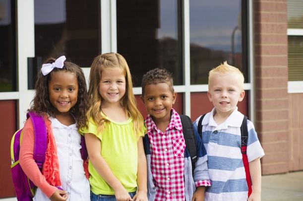 School Children Wearing Backpacks